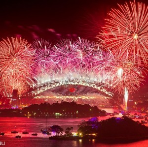 New Year's colours in the night sky above Sydney Harbour Bridge - photo courtesy Richard Hirst, www.hirsty.com.au